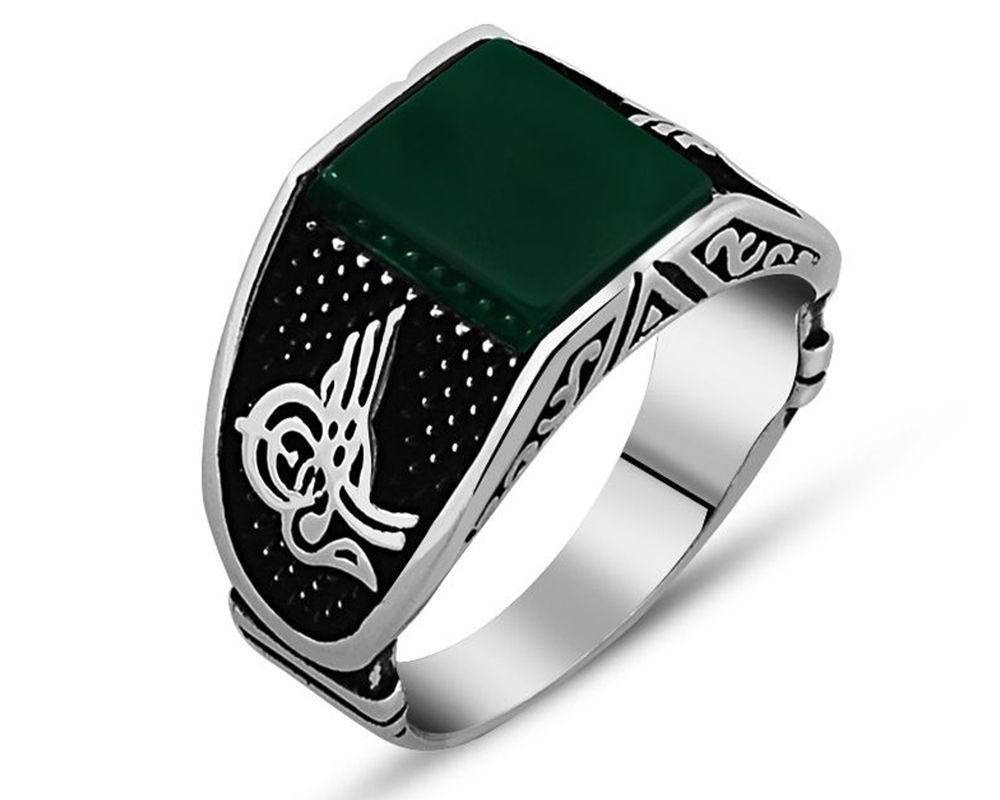 925 Ayar Gümüş Tuğra Detaylı Yeşil Akik Taşlı Yüzük (Model-2)
