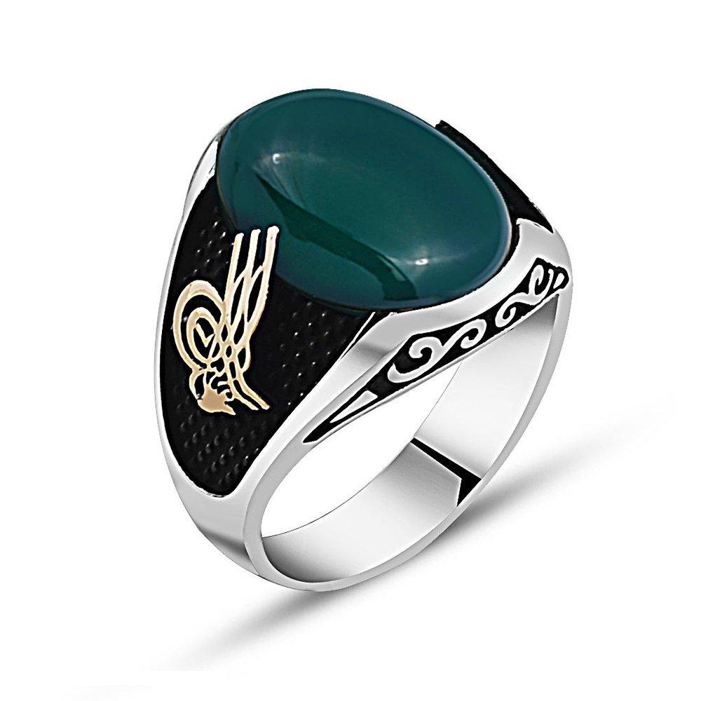 925 Ayar Gümüş Tuğra Detaylı Yeşil Akik Taşlı Yüzük