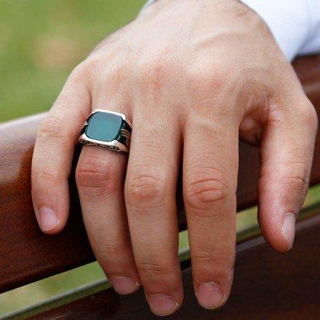 925 Ayar Gümüş Tuğra Detaylı Yeşil Akik Taşlı Yüzük(Model-3) - Thumbnail