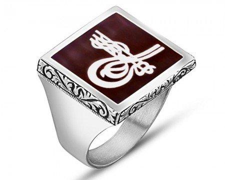 925 Ayar Gümüş Tuğra İşlemeli Bordo Mineli Yüzük - Thumbnail