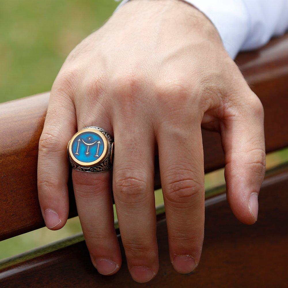 925 Ayar Gümüş Tuğra İşlemeli Kayı Boyu Simgeli Mavi Mineli Yüzük