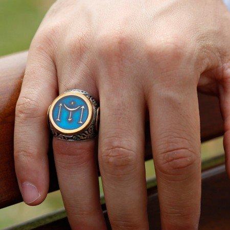 925 Ayar Gümüş Tuğra İşlemeli Kayı Boyu Simgeli Mavi Mineli Yüzük - Thumbnail