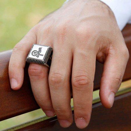 925 Ayar Gümüş Tuğra İşlemeli Yüzük(Model-2) - Thumbnail