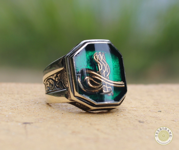 925 Ayar Gümüş Tuğra Model Cedid Yüzük - Thumbnail