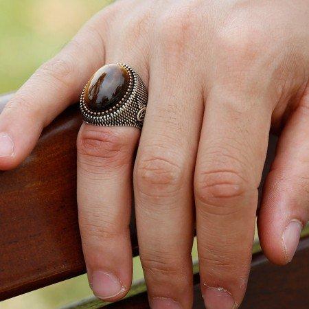 Tuğra İşlemeli Kaplangözü Taşlı 925 Ayar Gümüş Erkek Yüzük - Thumbnail