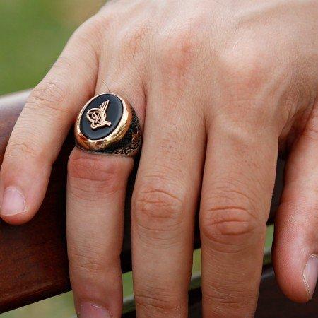 Tuğra Motifli Siyah Oniks Taşlı 925 Ayar Gümüş Erkek Yüzük - Thumbnail