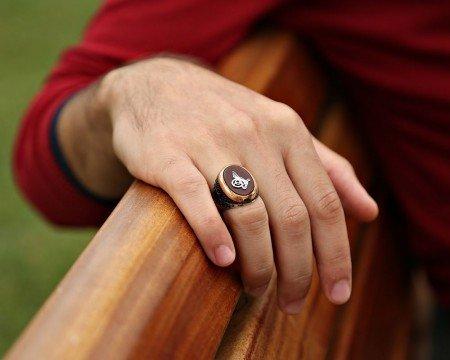 925 Ayar Gümüş Tuğra Model Oval Akik Taşlı Yüzük - Thumbnail