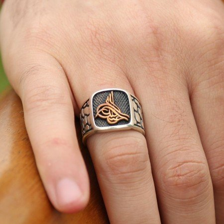 925 Ayar Gümüş Tuğra Model Özel Tasarım Yüzük - Thumbnail