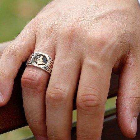 925 Ayar Gümüş Tuğra Model Yüzük - Thumbnail