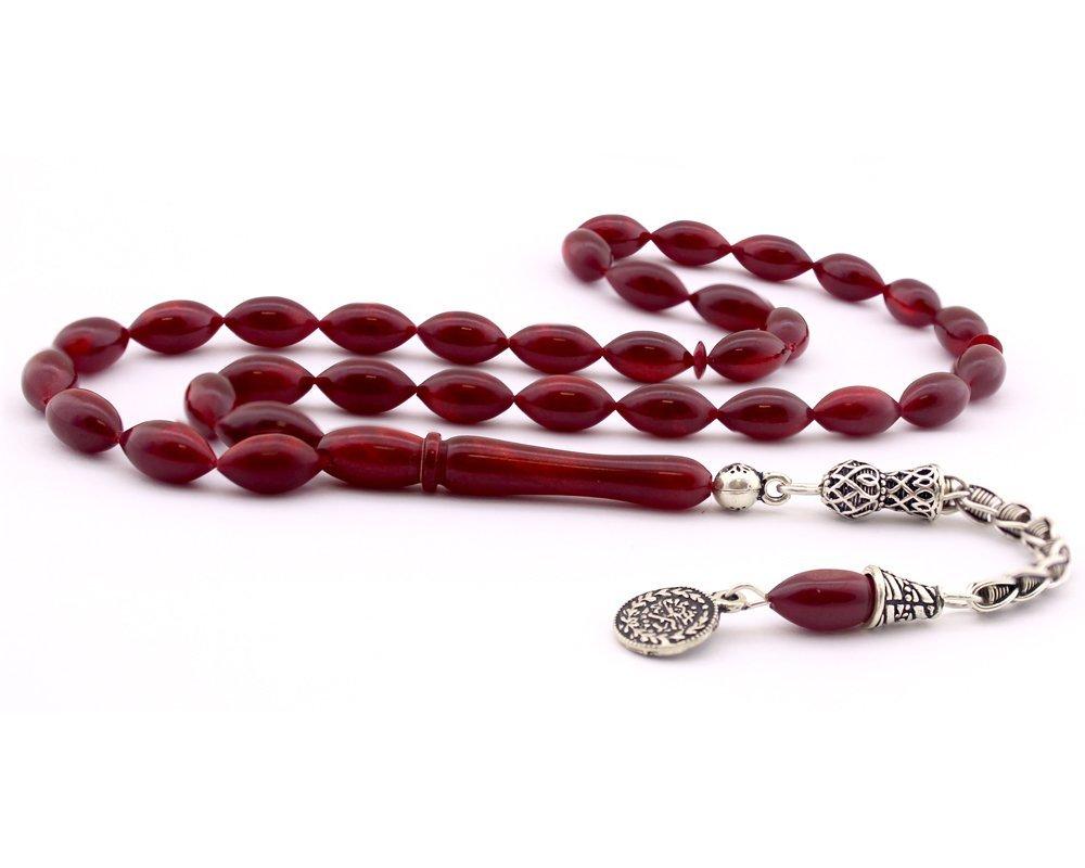 925 Ayar Gümüş Tuğra Püskül Kırmızı Sıkma Kehribar Tesbih