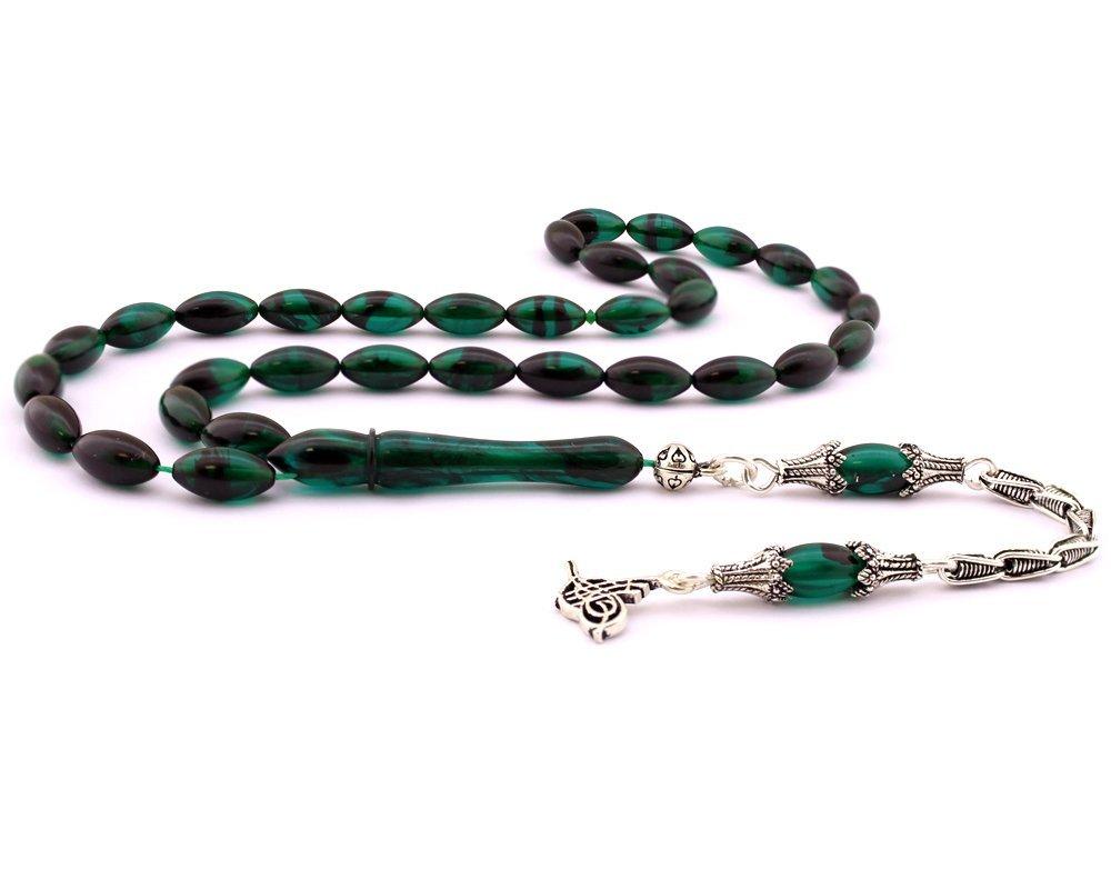 925 Ayar Gümüş Tuğra Püskül Koyu Yeşil Sıkma Kehribar Tesbih