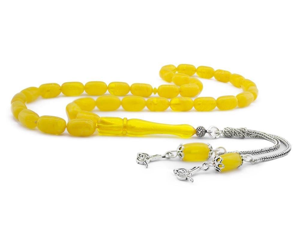 925 Ayar Gümüş Tuğra Püsküllü Kapsül Kesim Sarı Sıkma Kehribar Tesbih