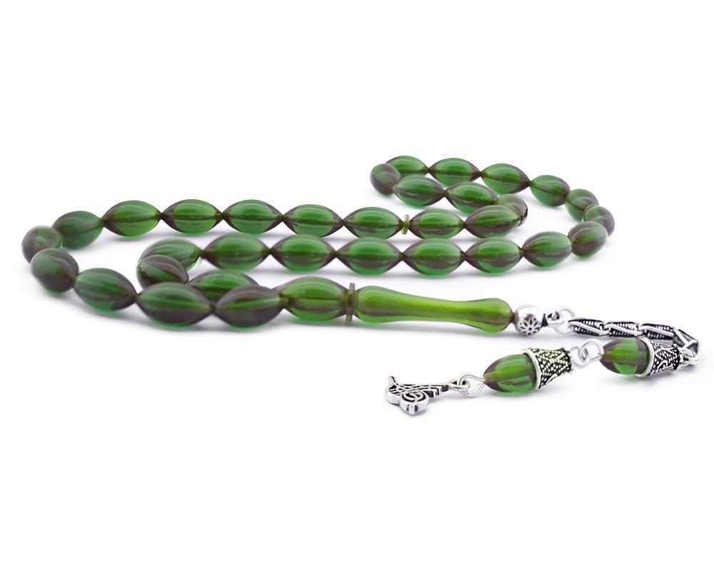 925 Ayar Gümüş Tuğra Püsküllü Koyu Yeşil Sıkma Kehribar Tesbih