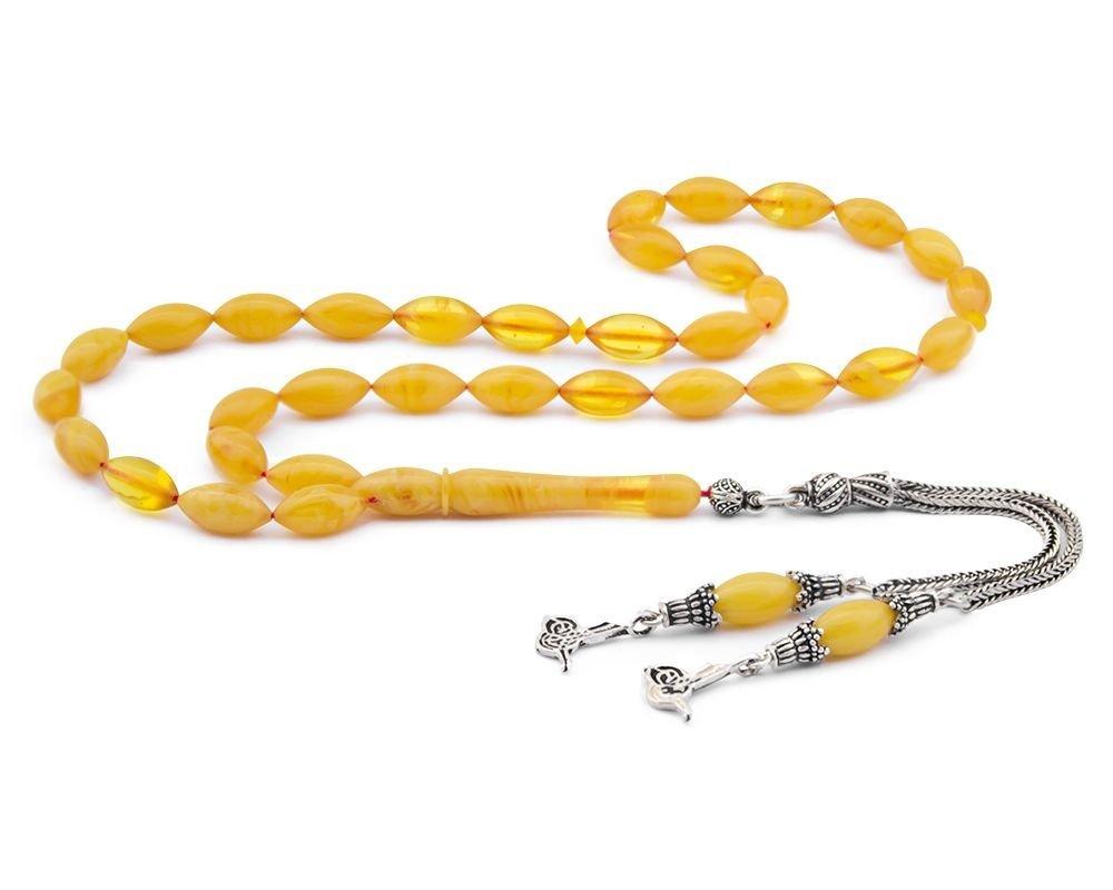 925 Ayar Gümüş Tuğra Püsküllü Sarı Sıkma Kehribar Tesbih