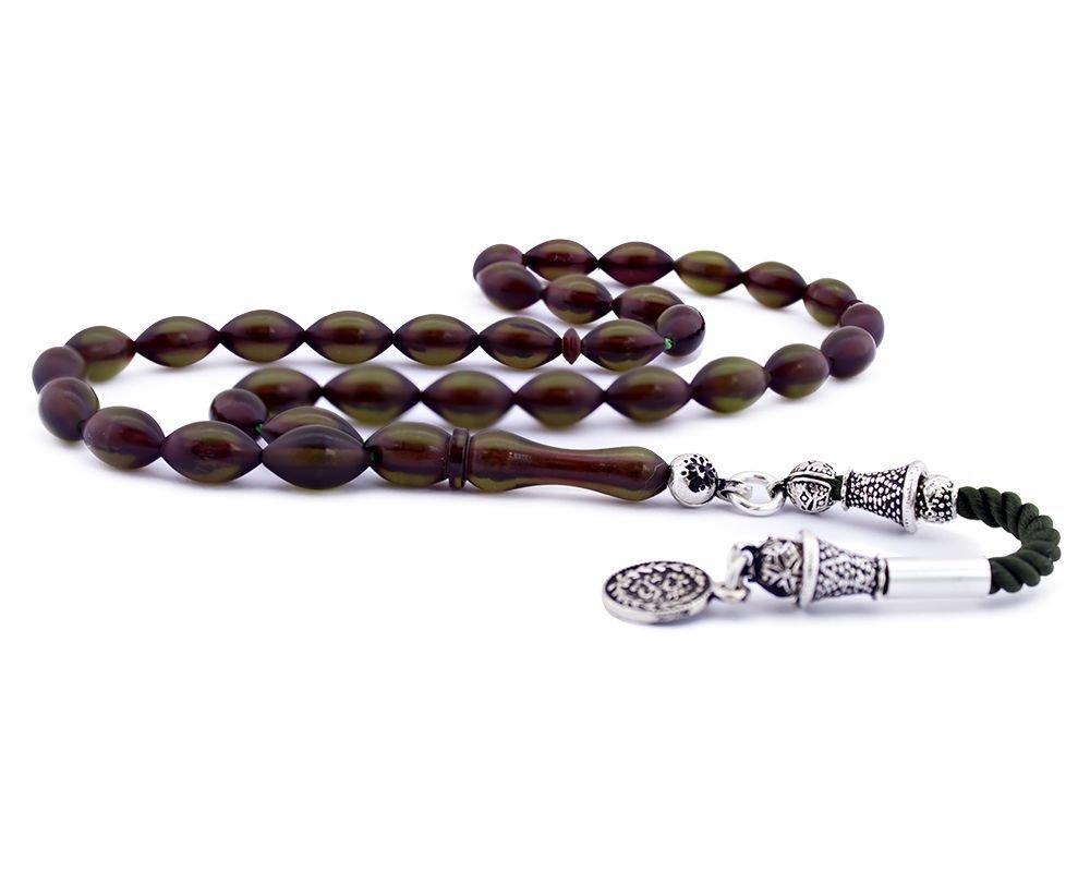 925 Ayar Gümüş Tuğra Püsküllü Sıkma Kehribar Tesbih