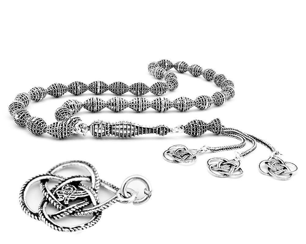 925 Ayar Gümüş Tuğra Püsküllü Tesbih