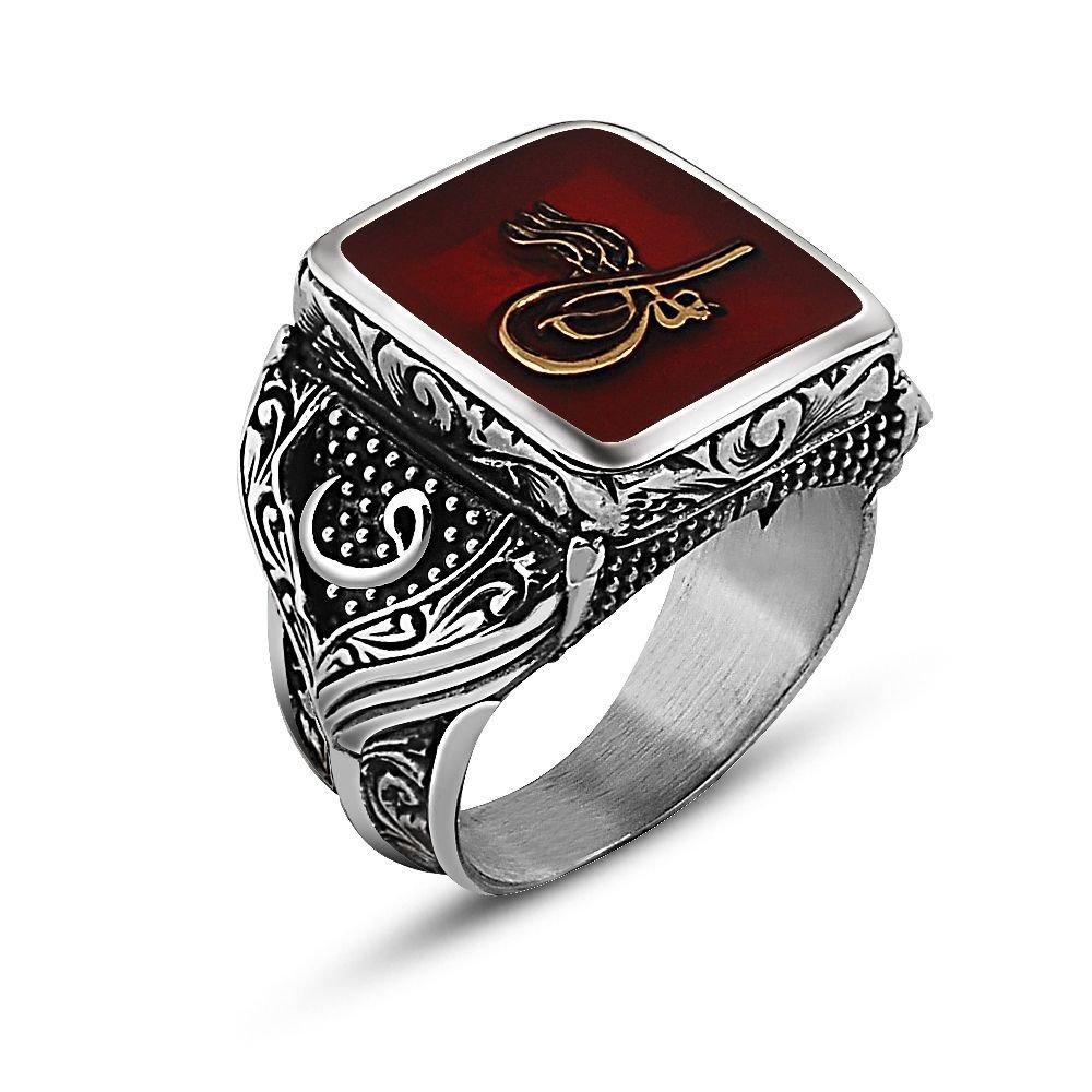 925 Ayar Gümüş Tuğra Tasarım Maruf Yüzük