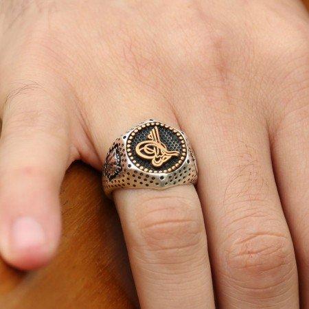 925 Ayar Gümüş Tuğra Tasarımlı Yüzük - Thumbnail
