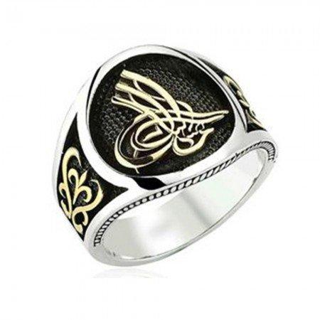 925 Ayar Gümüş Tuğralı Dekoratif Yüzük - Thumbnail