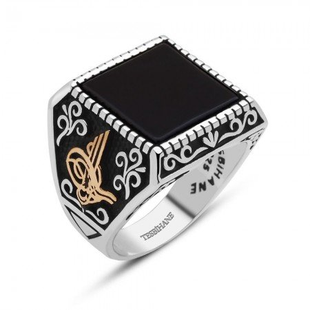 925 Ayar Gümüş Tuğralı Oniks Taşlı Yüzük - Thumbnail