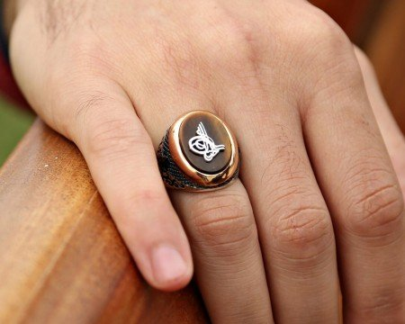925 Ayar Gümüş Tuğralı Oval Kaplangözü Taşlı Yüzük - Thumbnail