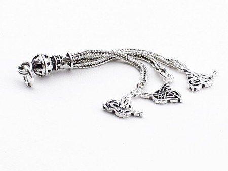 Tuğra Motifli 3'lü 925 Ayar Gümüş Püskül - Thumbnail