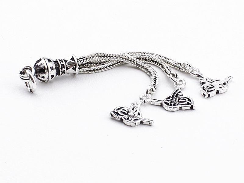Tuğra Motifli 3'lü 925 Ayar Gümüş Püskül