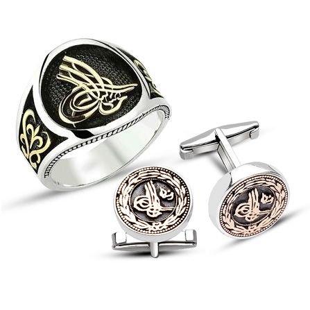925 Ayar Gümüş Tuğralı Yüzük - Kol Düğmesi Kombini