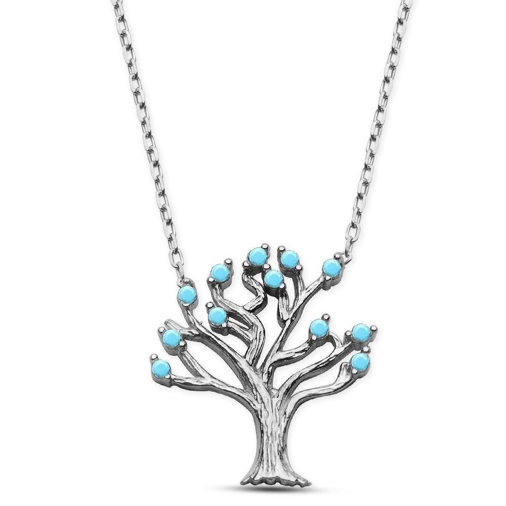 925 Ayar Gümüş Turkuaz Taşlı Ağaç Kolye