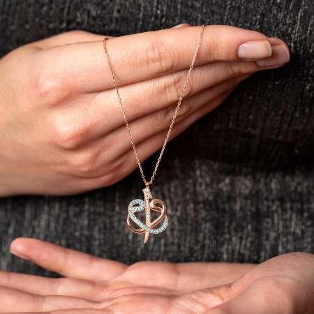 Mavi-Beyaz Zirkon Taşlı Çift Elif Vav 925 Ayar Gümüş Bayan Kolye - Thumbnail