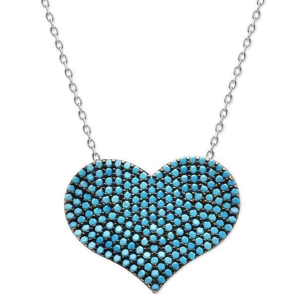 925 Ayar Gümüş Turkuaz Taşlı Kalp Model Kolye