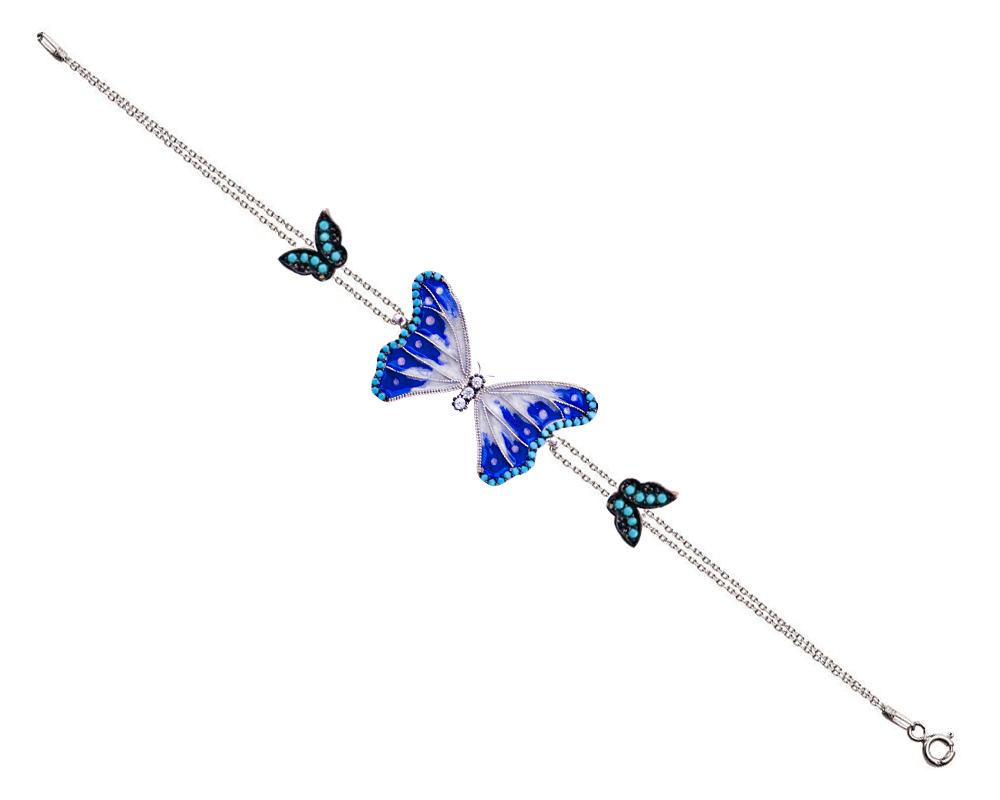 925 Ayar Gümüş Turkuaz Taşlı Mavi Beyaz Mineli Kelebek Bileklik
