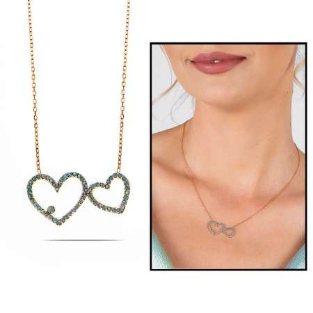 Turkuaz Zirkon Taşlı Tektaş Çift Kalp Tasarım 925 Ayar Gümüş Bayan Kolye - Thumbnail