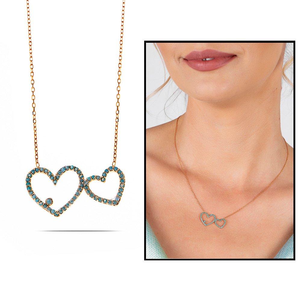 Turkuaz Zirkon Taşlı Tektaş Çift Kalp Tasarım 925 Ayar Gümüş Bayan Kolye