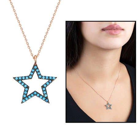 Turkuaz Zirkon Taşlı Yıldız Tasarım 925 Ayar Gümüş Bayan Kolye - Thumbnail