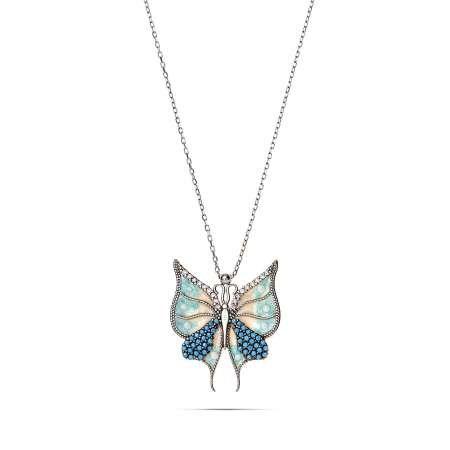 Turkuaz Zirkon Taşlı Kelebek Tasarım 925 Ayar Gümüş Bayan Kolye - Thumbnail