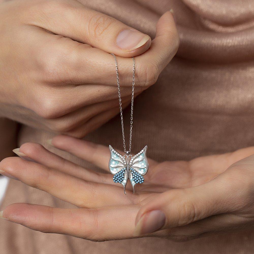Turkuaz Zirkon Taşlı Kelebek Tasarım 925 Ayar Gümüş Bayan Kolye