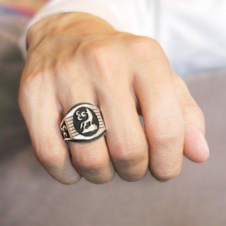 Üç Hilal İşlemeli Bozkurt Motifli 925 Ayar Gümüş Erkek Yüzük - Thumbnail