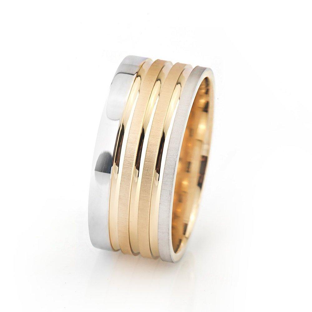 Üç Şerit Tasarım Gri-Gold Renk 925 Ayar Gümüş Erkek Alyans
