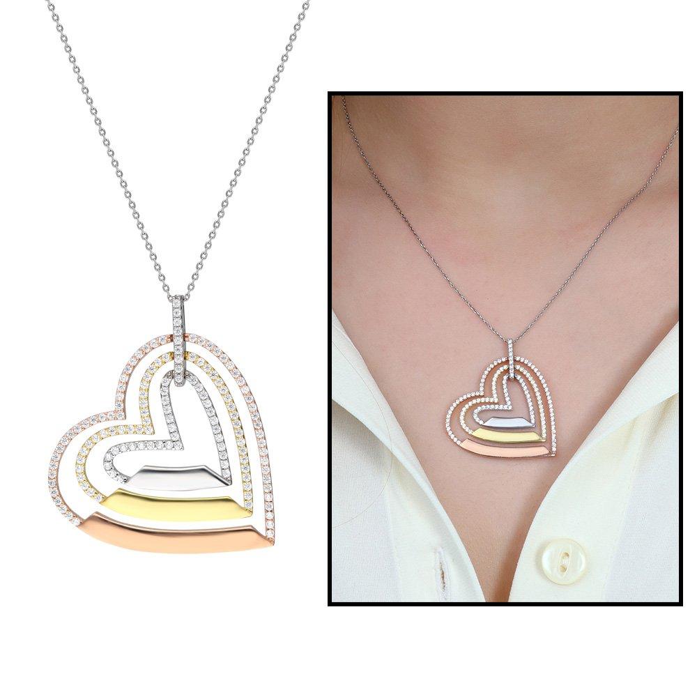 Üç Kalp Tasarım Kişiye Özel İsim Yazılı 925 Ayar Gümüş Bayan Kolye