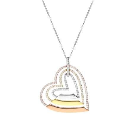 Üç Kalp Tasarım Kişiye Özel İsim Yazılı 925 Ayar Gümüş Bayan Kolye - Thumbnail