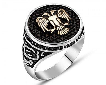 925 Ayar Gümüş Vatan Millet Yüzüğü(selçuklu Kartalı) - Thumbnail