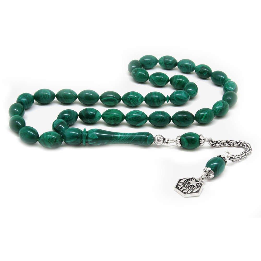 925 Ayar Gümüş Vatan Püsküllü Arpa Kesim Yeşil Sıkma Kehribar Tesbih