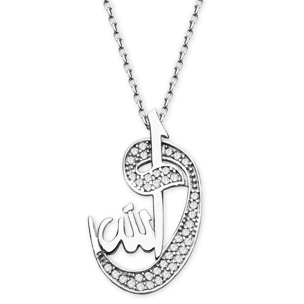 925 Ayar Gümüş Vav-Allah Model Kolye
