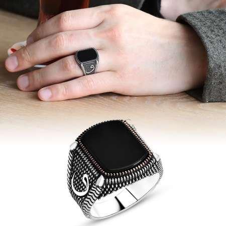 Nokta İşlemeli Vav Motifli Siyah Oniks Taşlı 925 Ayar Gümüş Erkek Yüzük - Thumbnail