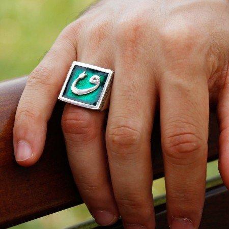 925 Ayar Gümüş Vav Lale İşlemeli Petrol Yeşil Mineli Yüzük - Thumbnail