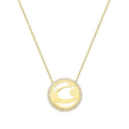Beyaz Zirkon Taşlı Vav Tasarım 925 Ayar Gümüş Bayan Kolye - Thumbnail