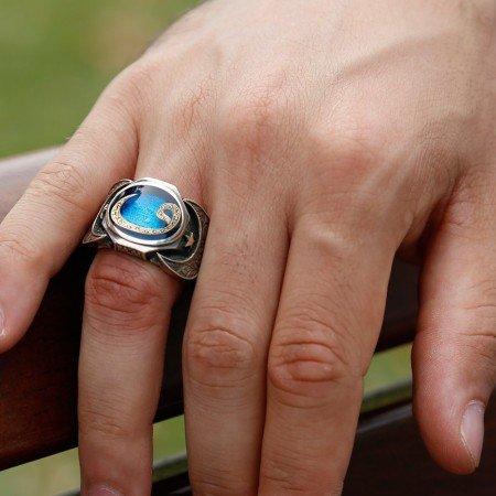 925 Ayar Gümüş Vav Model Mineli Yüzük - Thumbnail