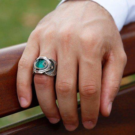 925 Ayar Gümüş Vav Model Yeşil Mineli Yüzük - Thumbnail