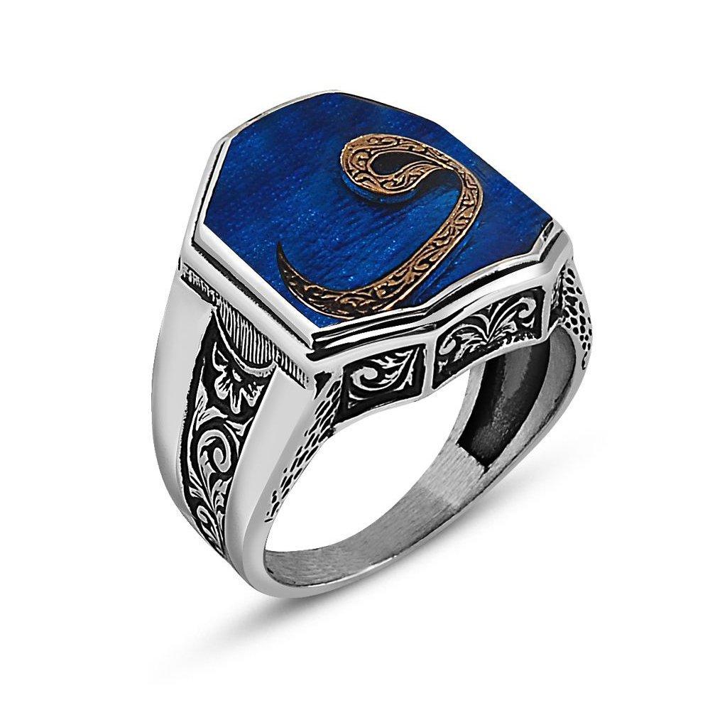 925 Ayar Gümüş Vav Yazılı Mavi Mineli Cedid Yüzük